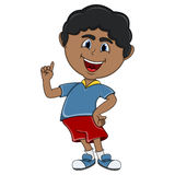 Little boy pointing his finger cartoon. Full color Stock Image