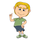 Little boy pointing his finger cartoon. Full color Royalty Free Stock Photos