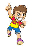 Little boy pointing his finger show no.1 pose cartoon. Royalty Free Stock Photo