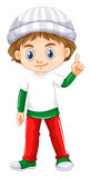 Little boy pointing his finger up. Illustration Stock Photos