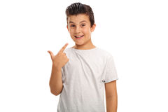 Little boy pointing at his smile Stock Images