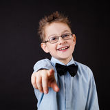 Little boy pointing out with a finger Royalty Free Stock Photos