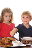 Little boy pointing to french toast. Shot of little boy pointing to french toast Royalty Free Stock Photography