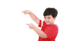 A little boy points at something Stock Image