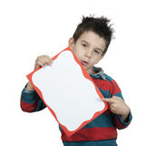 Little boy points whiteboard Royalty Free Stock Image