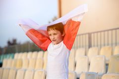 Little boy - Polish football team fan Royalty Free Stock Image