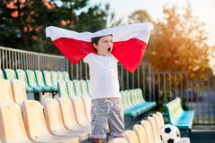 Little boy - Polish football team fan Royalty Free Stock Photo