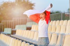 Little boy - Polish football team fan Stock Images