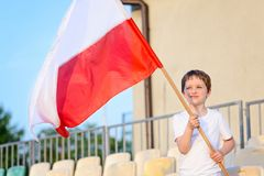 Little boy - Polish football team fan Stock Photos