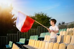 Little boy - Polish football team fan Stock Image