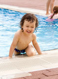 Little boy in pool Royalty Free Stock Photos