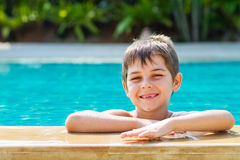Little boy by the pool Royalty Free Stock Photography