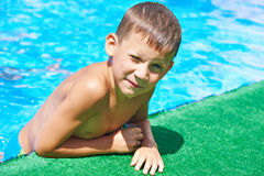 Little boy in pool Royalty Free Stock Image