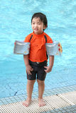 Little boy by the pool Stock Photo