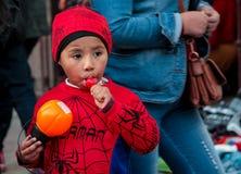 Little boy portrait dressed in Spiderman costume at Halloween celebration