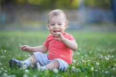 Little boy portrait in the park. Laughing on grass Royalty Free Stock Photos