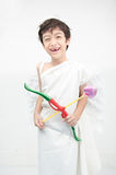 Little boy portrait pretend as cupid with wing Royalty Free Stock Photo