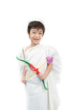 Little boy portrait pretend as cupid with wing Royalty Free Stock Photos