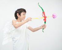 Little boy portrait pretend as cupid with wing Royalty Free Stock Image