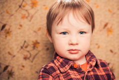 Little boy portrait at retro background Royalty Free Stock Images