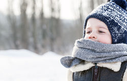 Little boy portrait in winter. Happy child Royalty Free Stock Photo
