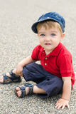 Little boy posing on alley Royalty Free Stock Image