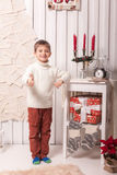 Little boy posing in Christmas interior. At home Royalty Free Stock Images