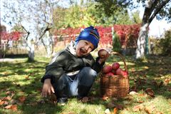 Little boy posing outdoors with apples Royalty Free Stock Photo