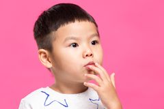 Little boy pout his lip. Asian young little boy stock photo