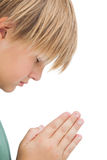 Little boy praying with eyes closed Royalty Free Stock Images