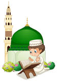 Little boy praying at mosque. Illustration Royalty Free Stock Images