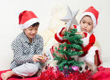 Little boy preparing christmas tree Stock Photos