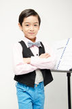 Little boy pretend as conductor leader Stock Image
