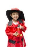 Little boy pretend as a fire fighter Stock Photos