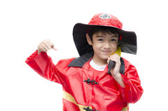 Little boy pretend as a fire fighter Stock Photo