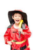 Little boy pretend as a fire fighter Royalty Free Stock Photo
