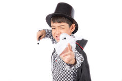 Little boy pretend as a magician performance with fun Royalty Free Stock Image