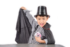 Little boy pretend as a magician performance with fun Stock Image