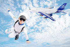 Little boy pretend as a pilot sky background Royalty Free Stock Photography
