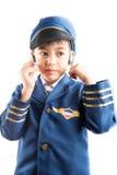 Little boy pretend as a pilot Stock Photos