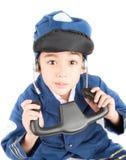 Little boy pretend as a pilot Stock Photography