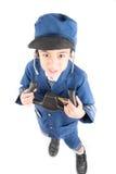 Little boy pretend as a pilot Stock Photo