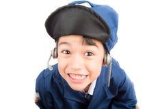 Little boy pretend as a pilot Stock Image