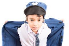 Little boy pretend as a pilot Stock Images