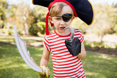 Little boy pretending to be a pirate Royalty Free Stock Image