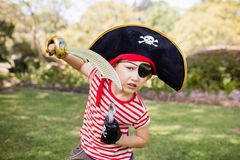 Little boy pretending to be a pirate Stock Photography