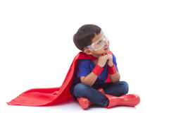 Little boy pretending to be a superhero Royalty Free Stock Photos