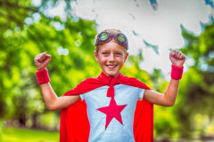 Little boy pretending to be superhero Royalty Free Stock Images