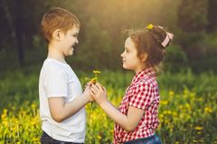 Little Boy prezent kwitnie jego przyjaciel dziewczyny Fotografia Stock