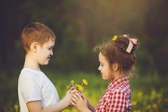 Little Boy prezent kwitnie jego przyjaciel dziewczyny Zdjęcia Royalty Free